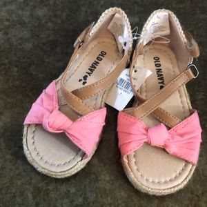 BNWT, old navy pink and burlap sandals, size 7